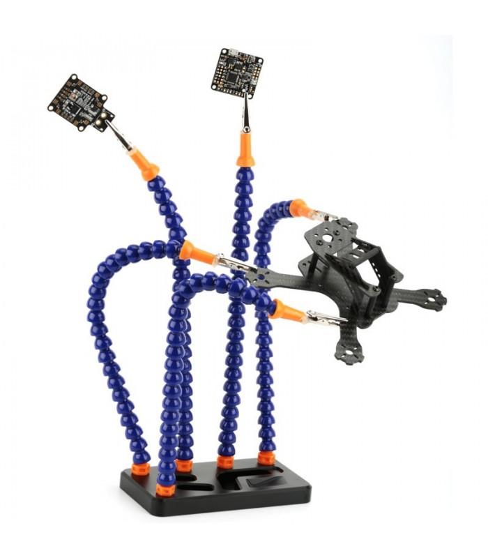 Supporto Terza Mano a 5 bracci flessibili e base in alluminio CNC rettangolare