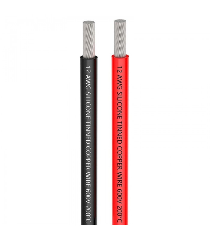 AWG12 - Cavo in Silicone altamente flessibile - 1m Rosso + 1m Nero
