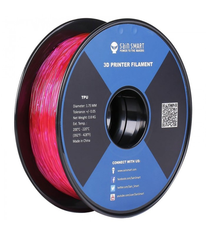 Sain Smart TPU Pink - Flexible Filament 1.75mm 0.8kg/1.76lb