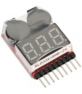 Tester per batterie con allarme acustico a basso voltaggio - 1S - 8S battery