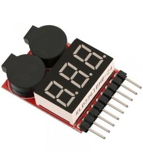 Tester per batterie con allarme acustico a basso voltaggio-1S-8S